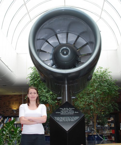 Lucy with a Rolls Royce Engine