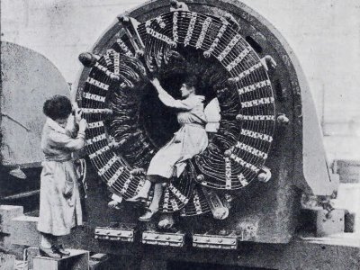 women at work on an electric alternator Parsons works advert 1921 in The Woman Engineer vol 1 pg 78